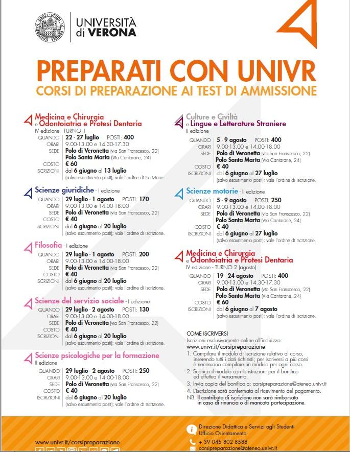 Univr Calendario.Corsi Di Preparazione Ai Test Di Ammissione Univr
